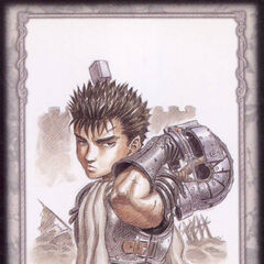 A young Guts holds his helmet behind him. (Secret card 6)