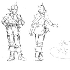 Front and back view sketches of a young Judeau clad in armor for the 1997 anime.