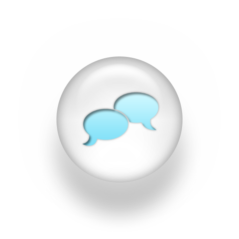 File:Speech balloon pearl white 3d two icons blue.png