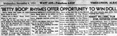 Betty Boop Rhymes Offer Opportunity to Win Doll (1931)