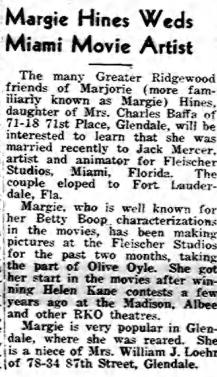 Margie Hines Weds Miami Movie Artist (1939)