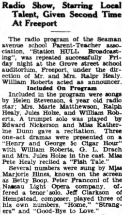 Radio Show, Starring Local Talent, Given Second Time At Freeport (1932)