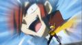 Takanosuke swearing to defeat Sakyo