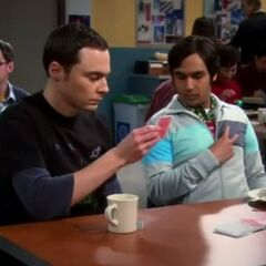 Sheldon, Raj and the magic trick.
