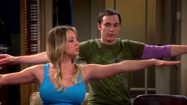 File:Penny and Sheldon doing Warrior 2.jpg