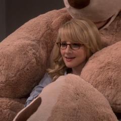 Bernie enjoying the new bear.