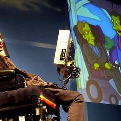 Stephen Hawking presents his appearance on The Simpsons