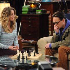 Penny beats Leonard at chess.