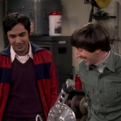 Raj and Howard in his lab.