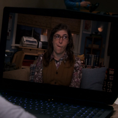 Amy wondering why she had to go home to Skype with Sheldon.