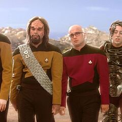 TNG characters walking through the desert.