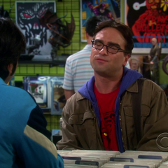 Raj and Leonard at the comic book store.