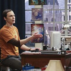 Sheldon claims a new spot for his old Windows 98 tower computer.