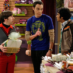 Sheldon, Raj and Howard choosing out gift items.