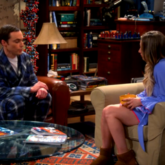 Sheldon getting advice from Penny.