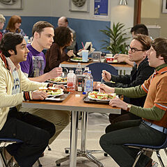 Sheldon, Leonard, Howard, and Raj at the university's cafeteria.