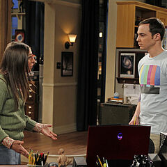Sheldon and Amy in a discussion.