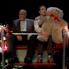 Sheldon riding the Ferris wheel with Darth Vader.