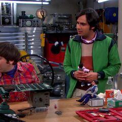 Raj, Howard and their dolls.