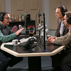 Leonard and the uninvited Sheldon are on NPR together.