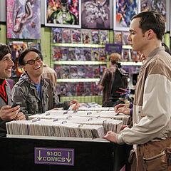 Sheldon, Leonard, and Howard at the comic book store.