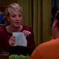 Penny wrote down what Leonard had been working on.
