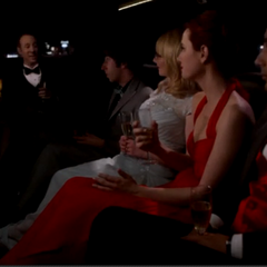 Three couples in a limo.