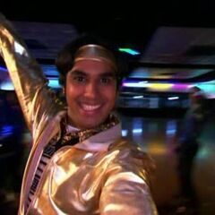 Raj at disco skating.