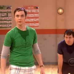 Sheldon and Kripke in a basketball match.