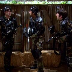 The gang playing paint ball.