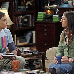 Sheldon and Amy talk at his apartment.