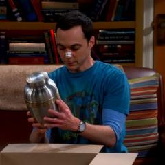 The cremation urn Sheldon bought for Leonard.