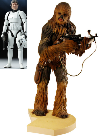 File:Han Solo in Stormtrooper Disguise and Kotobukiya Chewbacca Pre-Painted Soft Vinyl Model Kit.png