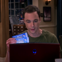 Sheldon offering Amy his two aquarium buffet tickets.