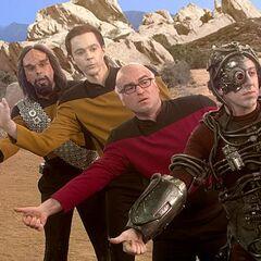 <i>Star Trek</i> characters hitch hiking.