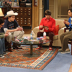 Sheldon wears a cowboy hat and boots with the guys as they play <i>Mystic Warlords of Ka'a</i>.
