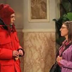 Sheldon discussing meeting Amy's mother after trying to sneak by her.