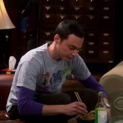 Sheldon eating takeout.