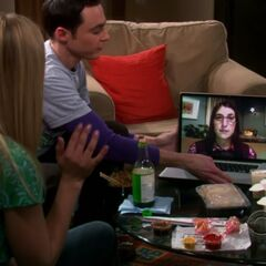 Hanging out with Sheldon and a virtual Amy.