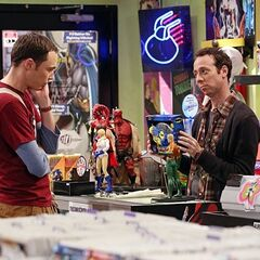 Stuart trapping Sheldon into an expensive collectible figure purchase.