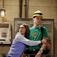 Comforting Sheldon. Not in final episode edit.