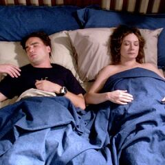 Leonard and Leslie in bed.