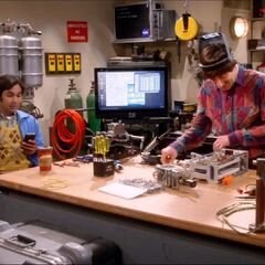 Raj hanging out in Howard's lab.