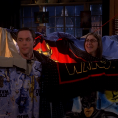 Sheldon and Amy in their fort.