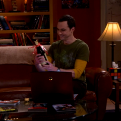 Sheldon popped the cork of Leonard's bottle of champagne to celebrate the return of FWF.