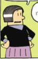 Mrs. Godfrey with her hands on her hips