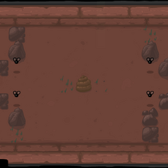 Four Black Flies and three rocks at each corner of the room, with an additional Attack Fly at the top-left corner and a pile of poop in the center.