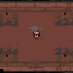 A Horf in the center, with an Attack Fly in the middle of a row of rocks and piles of poop at each corner of the room.