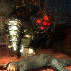 <i>BioShock'tan, Koca Baba bir cesedin yanında, uyarlanmış hali.</i>