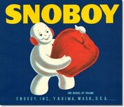 SnowBoy Apples Fruit Crate Label